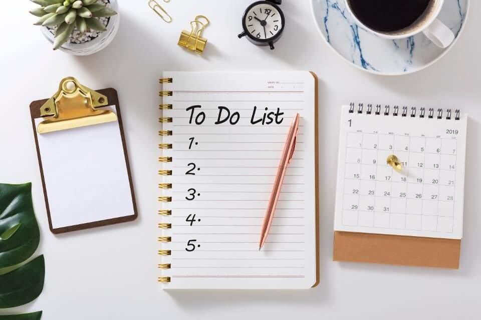 Keep a to do list when working from home